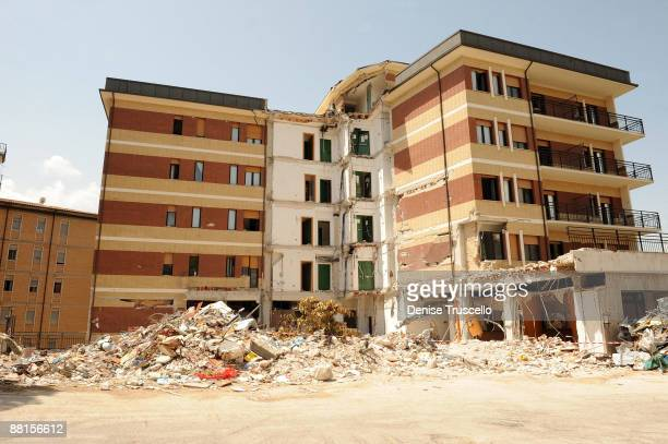 The student dormatory in L'Aquila, which was damaged during the the 6.3 magnitude earthquake that struck the Abruzzo region on April 6, 2009 pictured...