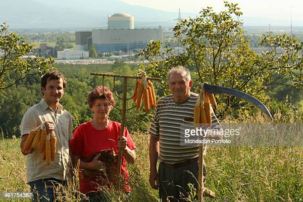 The student in philosophy Matej Molan portrayed with his grandparents Ivana and Anton Vodopivc in their contry house on the hills surrounding the...