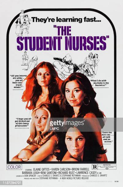 The Student Nurses poster US poster art clockwise from bottom left Karen Carlson Brioni Farrell Elaine Giftos Barbara Leigh 1970