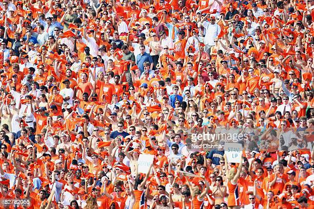 The student section fans of the University of Virginia Cavaliers cheer against the University of Southern California Trojans on August 30, 2008 at...