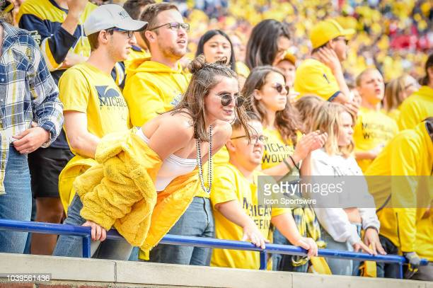 The student section for the Michigan Wolverines cheer prior to the Michigan Wolverines versus Nebraska Cornhuskers game on Saturday September 22 2018...