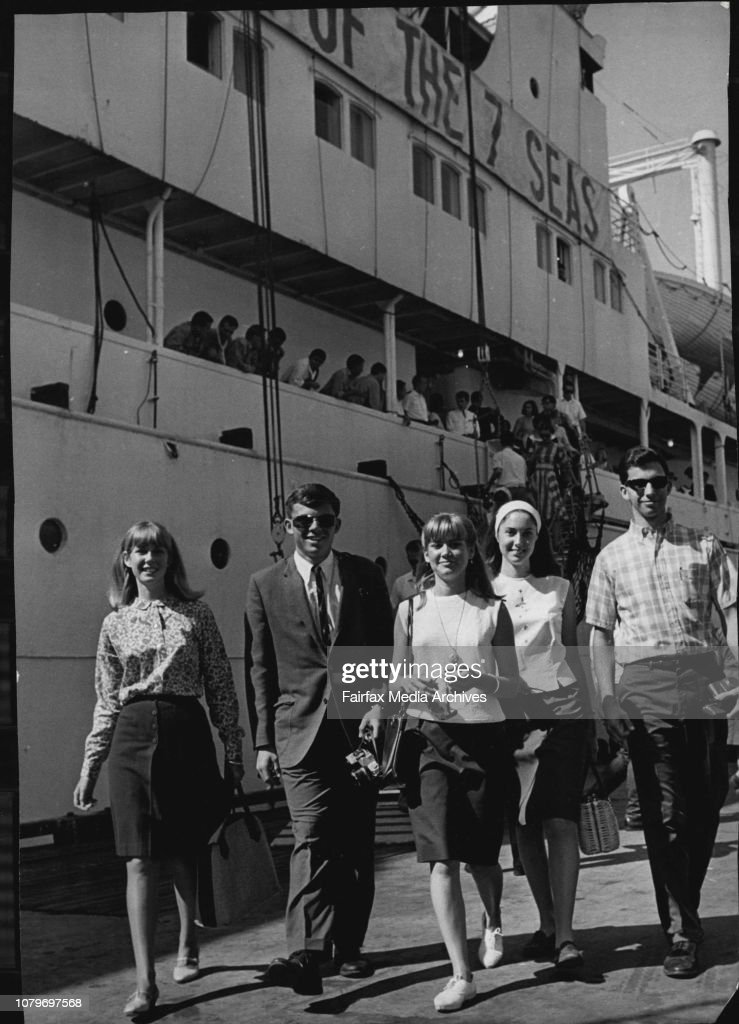 """The student ship """"Seven Seas"""" arrived in Sydney today and berthed at 7 W'loo. Soon after the ship tied up, most of the students aboard had left the ship and joined tour buses for a quick view of Sydney. However, a few of the students stayed aboard to take : News Photo"""
