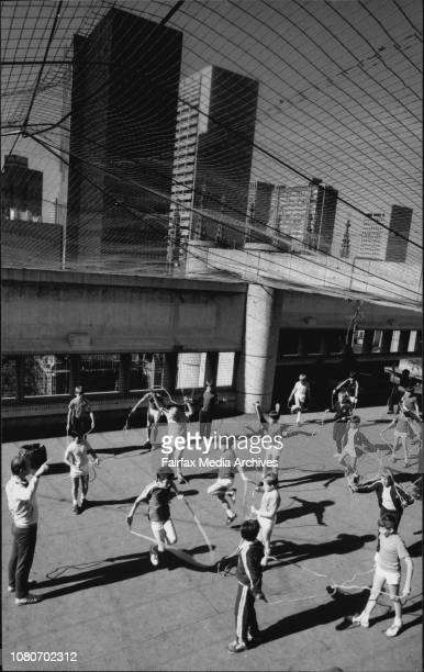The students at PE on the roof of St Andrews SchoolStory is about using the top of buildings for recreation and other activities July 5 1985