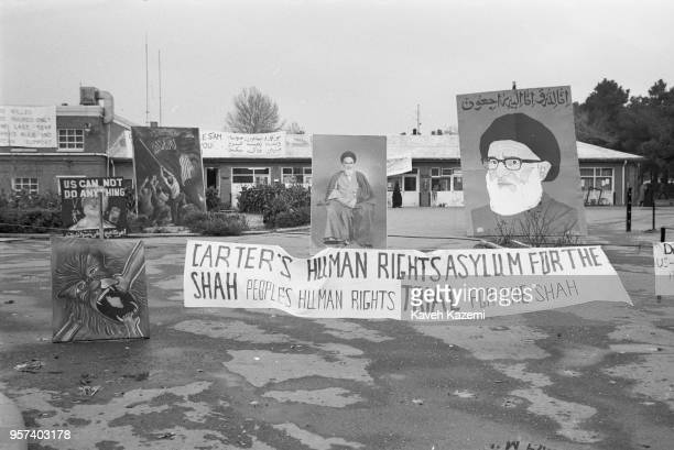 The 'Students Following The Imam Khomeini Line' who hold the American hostages captive inside the embassy display their anti US imperialism artwork...