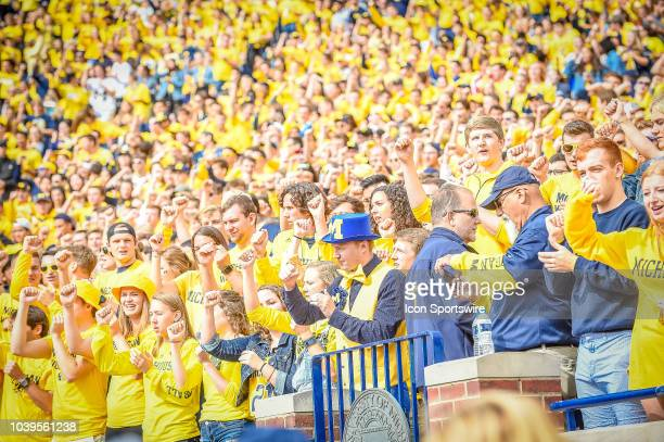 The students in the Michigan Wolverines student section cheer prior to the Michigan Wolverines versus Nebraska Cornhuskers game on Saturday September...