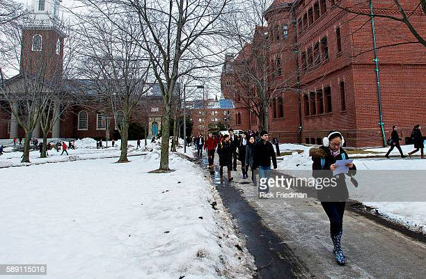 The students walking on Harvard Yard at Harvard University in Cambridge MA USA on February 19