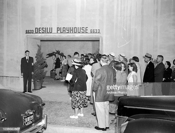 The studio audience arrives at the Desilu Playhouse at 6633 Romaine Street, Los Angeles, for an episode of 'I Love Lucy', circa 1955.