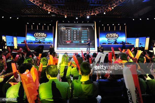 The studio audience cheers before the start of the League of Legends North American Championship Series Spring Split round robin competition at the...