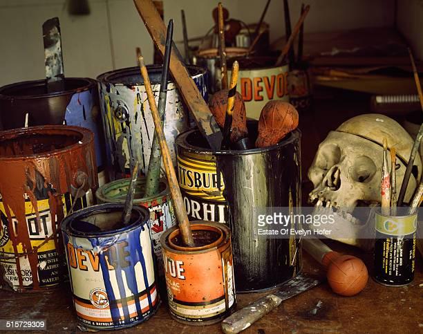 The studio of artist Jackson Pollock, Long Island, 1988.