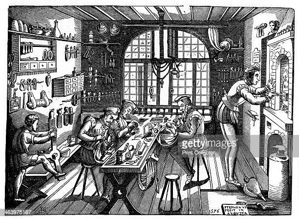 The studio of Etienne Delaune A wood engraving of the interior of the workshop of Etienne Delaune French goldsmith artist printmaker and medallist...