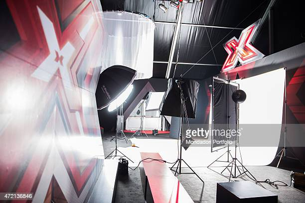 The studio of the talent show X Factor in a photo shooting Italy 2013