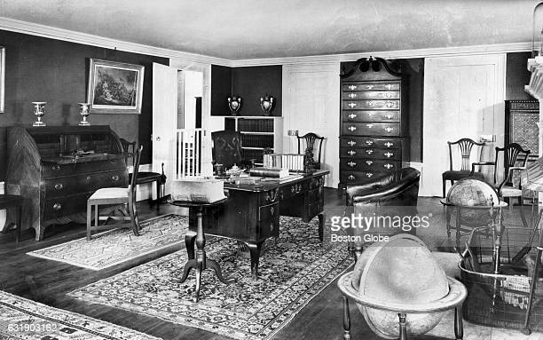 The study in the Old House at Peace field in Quincy Mass Aug 27 1958 The room was furnished by the four generations of Adams that lived in the house...