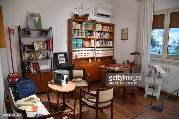 The study of late priest Pino Puglisi is pictured in the historic house museum and Padre Nostro welcome center in the Brancaccio district of Palermo...
