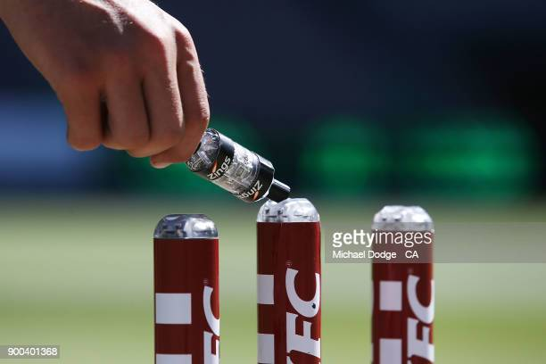 The stumps are seen during the Big Bash League match between the Melbourne Stars and the Brisbane Heat at Melbourne Cricket Ground on January 2 2018...