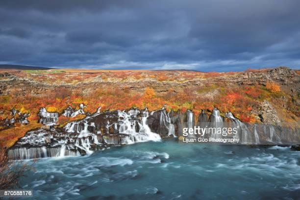 The stunning Hraunfossar Waterfalls in Western Iceland