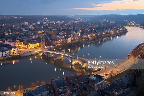 the stunning namur from an aerial view at night time - kolonie stockfoto's en -beelden