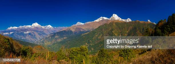 The stunning panoramic view of the Annapurna mountain range from Ghorepani village, Nepal.