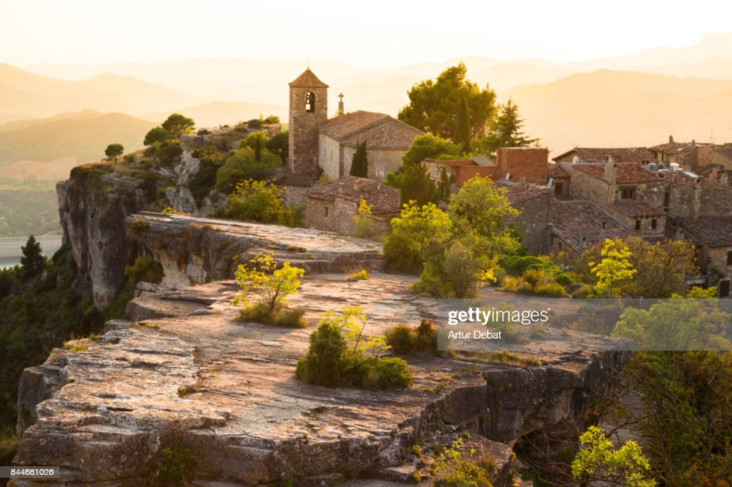 The stunning Siurana town on top of cliff with amazing views at sunset with romantic sky during travel vacations in the Catalonia region. : Stock Photo