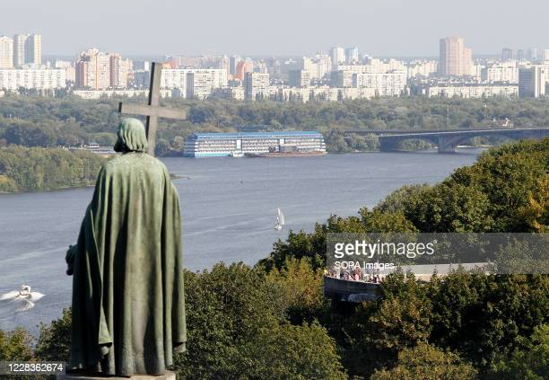 The St.Vladimir monument and a view of the left bank over the Dnipro river seen from Vladimir Hill in downtown of Kiev, Ukraine.