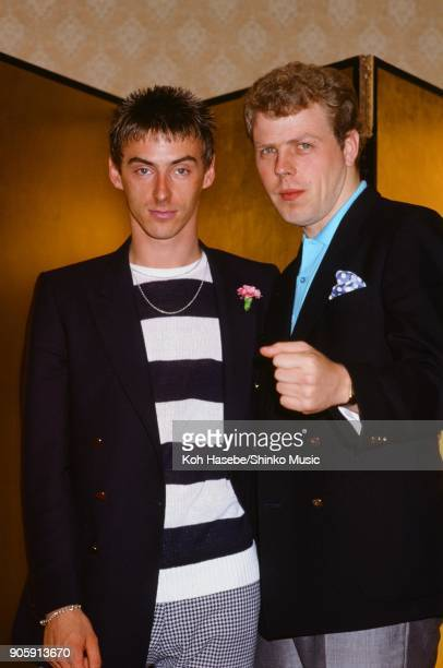 The Style Council at press conference for ROCK IN JAPAN'85 August 1985 Tokyo Japan Paul Weller Mick Talbot