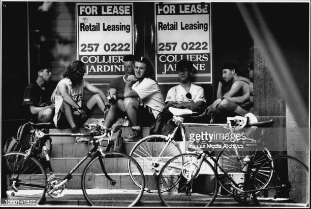 The Sub Culture of the Bicycle couriers At lunchtime in between Jobs they Hang out in a disused shop front on the circular quay end of Pitt St near...