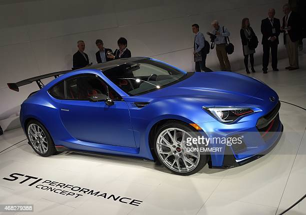 The Subaru BRZ is on view during the Subaru media conference at the 2015 New York Auto Show April 1 2015 at the Javits Center in New York AFP...