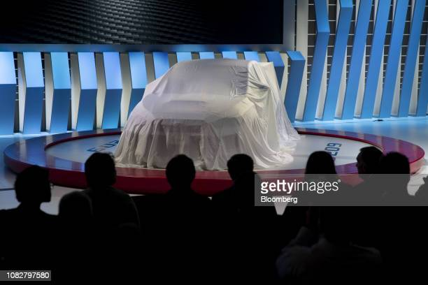 The Subaru Corp. STI S209 vehicle sits covered before being revealed during the 2019 North American International Auto Show in Detroit, Michigan,...