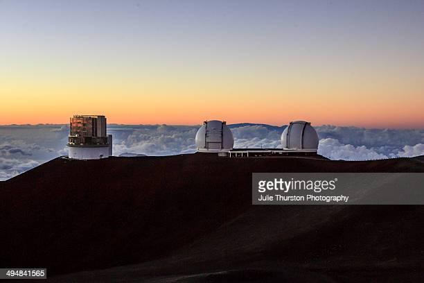 The Subaru, Keck I and Keck II Telescopes at the Mauna Kea Observatories at Sunset on the Big Island of Hawaii