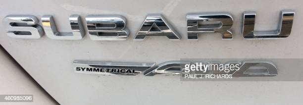 The Subaru logo is seen on a parking lot in Sterling Virginia on January 2 2015 With the price of gasoline at its lowest level in half a decade and...