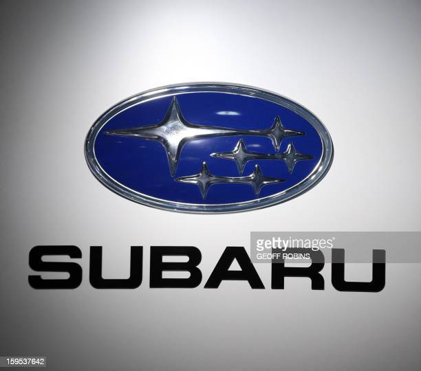 The Subaru logo is viewed at the 2013 North American International Auto Show in Detroit Michigan January 15 2013 AFP PHOTO/GEOFF ROBINS