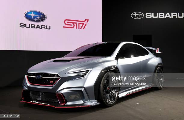 The Subaru VIZIV performance STI concept is displayed at the Subaru booth of the Tokyo Auto Salon at the Makuhari Messe in Chiba on January 12 2018...