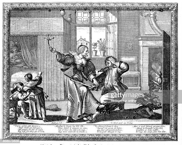 The subjugated cuckold man holding stick in hand is beaten by his wife with the key collar french copper engraving from the 17th century publication...