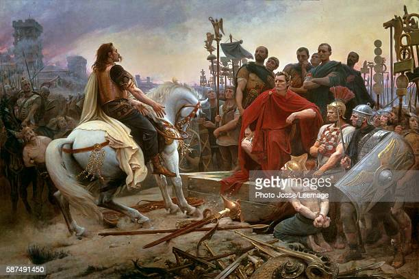 The submission of Vercingetorix to Caesar Vercingetorix leader of the Gallic rebellion throws down his arms at the feet of Caesar after having lost...