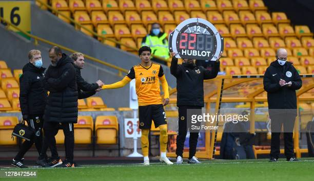 The substitution is shown on the Hublot board during the Premier League match between Wolverhampton Wanderers and Fulham at Molineux on October 04,...
