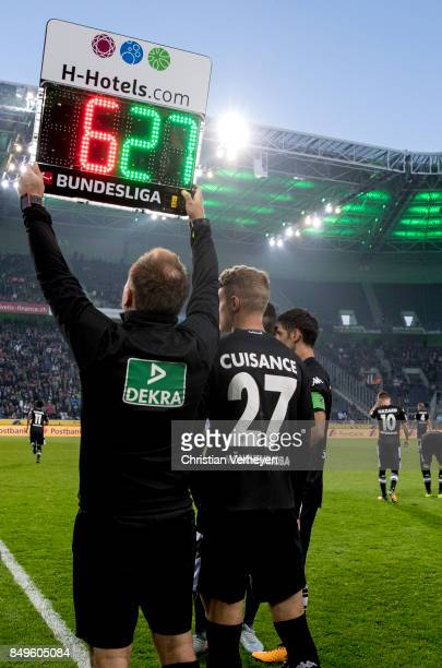 The substitution of Michael Cuisance of Borussia Moenchengladbach during the Bundesliga match between Borussia Moenchengladbach and VfB Stuttgart at...