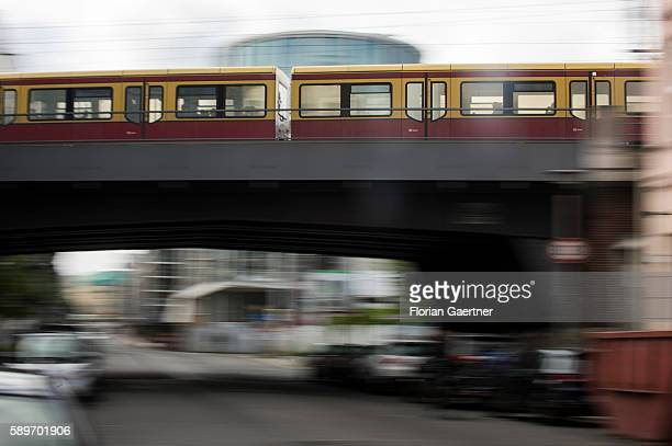 The suburban train is captured with long exposure on August 10 2016 in Berlin Germany