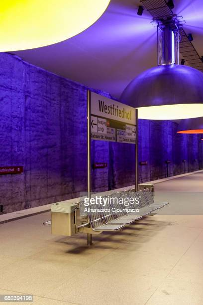 The subway station Westfriedhof on April 16 2017 in Munich Germany Westfriedhof UBahn station opened on 24 May 1998 11 large lamps measuring 380...