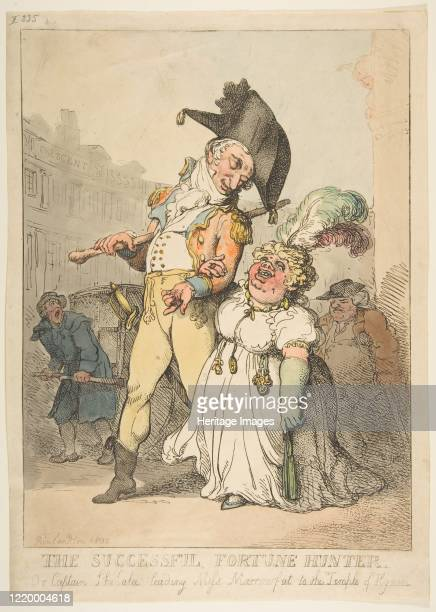 The Successful Fortune Hunter or Captain Shelalee Leading Miss Marrowfat to the Temple of Hymen 1802 Artist Thomas Rowlandson