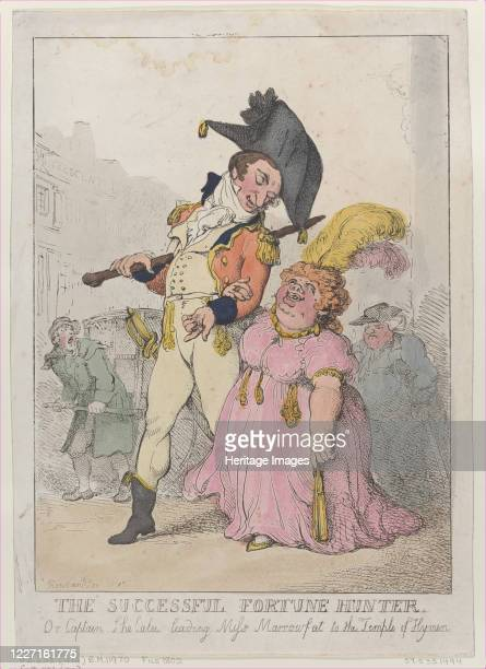 The Successful Fortune Hunter or Captain Shelalee Leading Miss Marrowfat to the Temple of Hymen [1802] reissued 1812 Artist Thomas Rowlandson