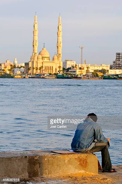 the suez canal in port said, egypt - port said stock pictures, royalty-free photos & images