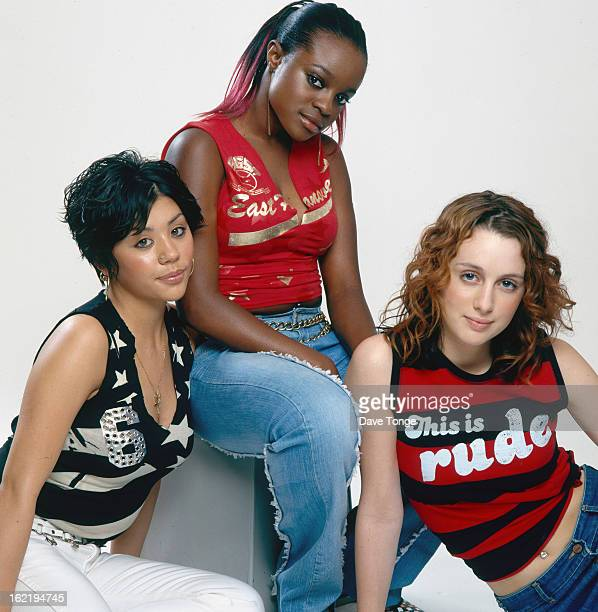 The Sugababes pose for a studio group portrait London 2001 Left ro right Mutya Buena Keisha Buchanan and Siobhan Donaghy