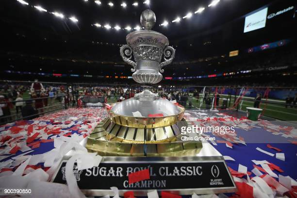 The Sugar Bowl Classic trophy is seen after the Alabama Crimson Tide beat the Clemson Tigers at the MercedesBenz Superdome on January 1 2018 in New...