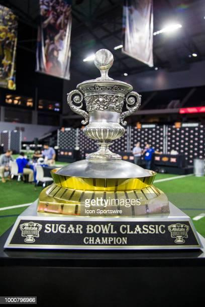 The Sugar Bowl Classic trophy sits during the Big 12 Media days on July 17 2018 at the Ford Center at The Star in Frisco Texas