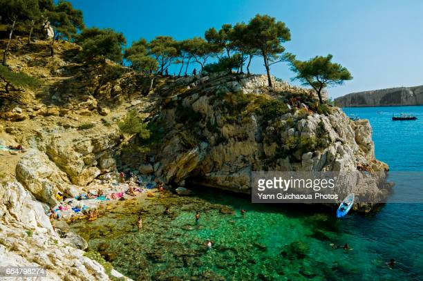 the sugiton calanque, marseille, bouches du rhone, france - calanques stock pictures, royalty-free photos & images