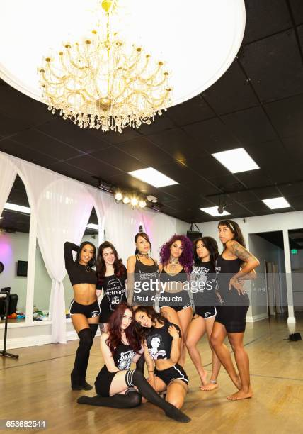 The Suicide Girls host a press day to announce their Blackheart Burlesque national tour at Just Dance Los Angeles on March 15 2017 in Studio City...