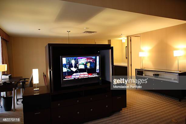 The suite 3605 at the Hyatt Regency Plaza Hotel with its large plasma screen TV from which Barack Obama learned to have beaten the Republican...