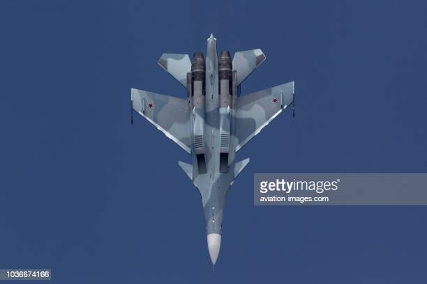 The Sukhoi Su-30SM jet fighter of Russian Navy performs its demonstration flight at MAKS-2015 airshow near Zhukovsky, Moscow Region, Russia.