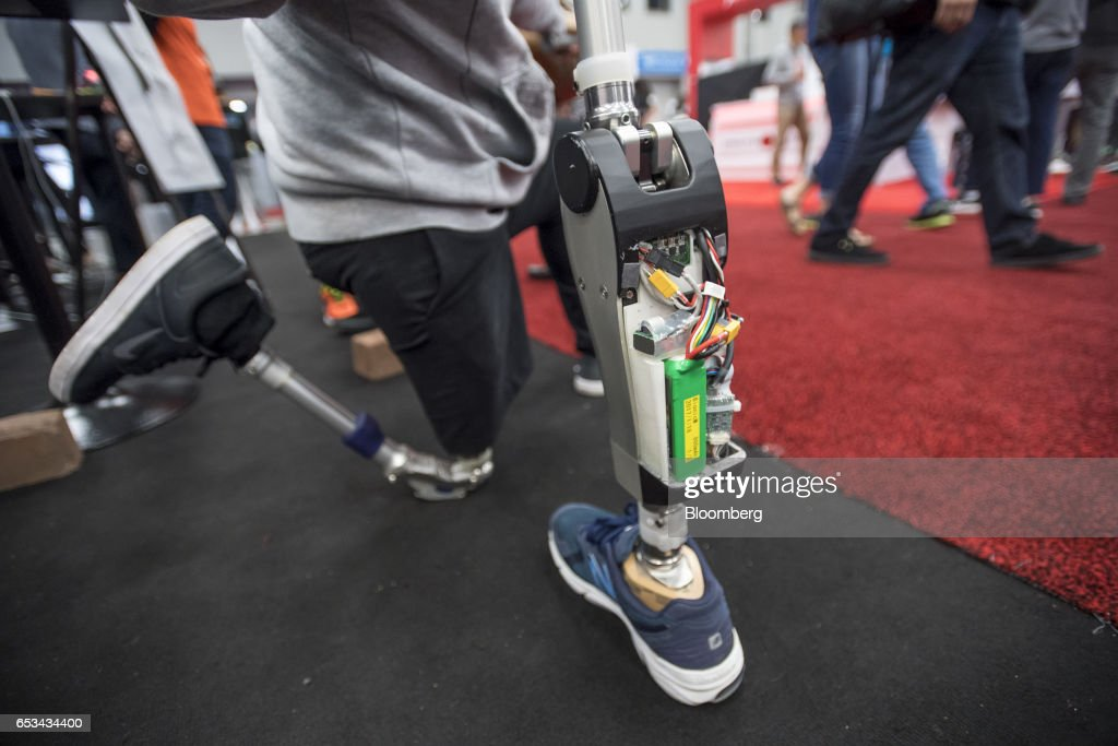 The Suknee robotic prosthetic knee manufactured by Bionic M is displayed for a photograph at the 2017 South By Southwest (SXSW) Interactive Festival at the Austin Convention Center in Austin, Texas, U.S., on Tuesday, March 14, 2017. The SXSW Interactive Festival features a variety of tracks that allow attendees to explore what's next in the worlds of entertainment, culture, and technology. Photographer: David Paul Morris/Bloomberg via Getty Images
