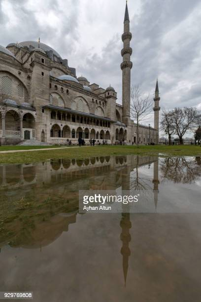The Suleymaniye Mosque garden after the rain,Fatih district of Istanbul,Turkey