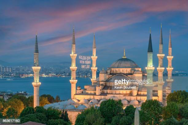 the sultan ahmed mosque in istanbul at sunset - ottoman empire stock photos and pictures